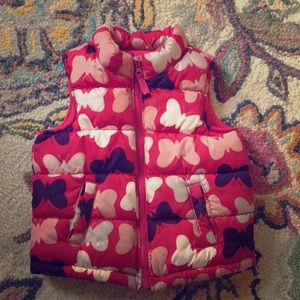 Old Navy butterfly puffer vest kids 18-24 months
